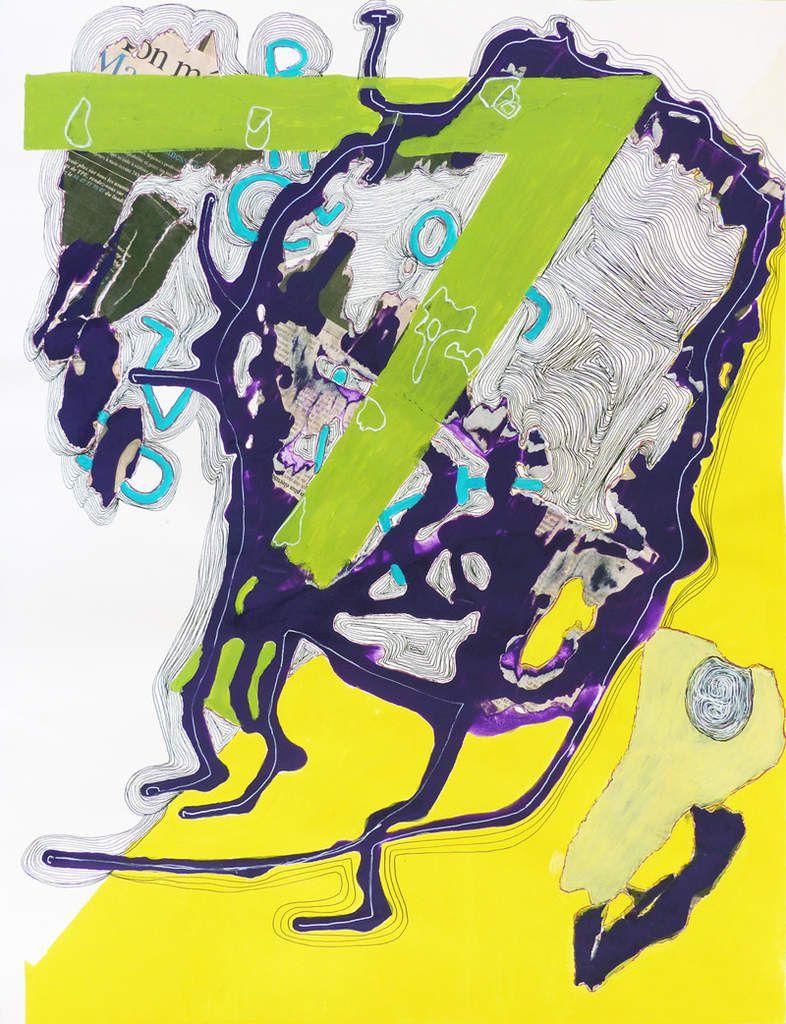 Peinture et collage d'Elise Desvaux Nsongo
