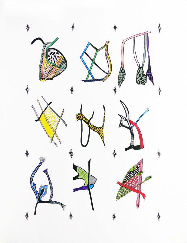 Catherine Maisse - Dessin aux marqueurs acrylique d'après des coulures.