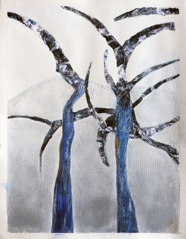 Peinture et collage de Martine Rué (I)