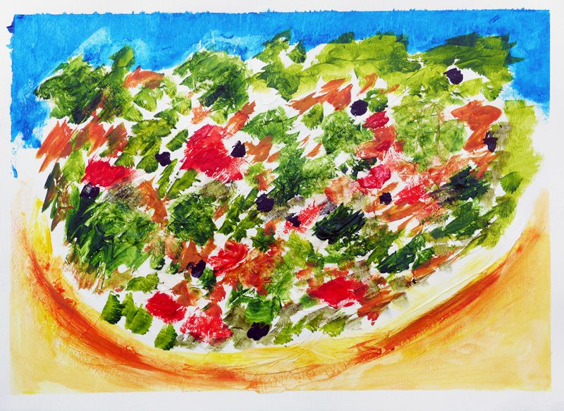 Pizza, peinture de Ghislaine Thiébaud-Gojon