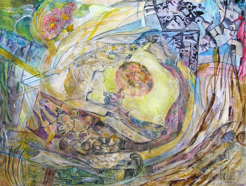 Geneviève Buchon 2010 - Peinture mixant les 3 compositions précédentes.