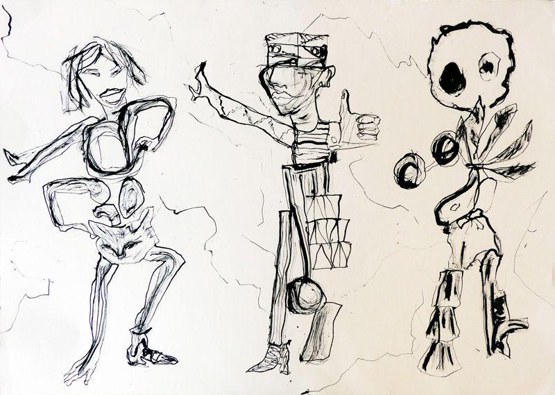 Dessin (au tournevis, calame, bambou ébouriffé etc) de Martine Poirier Malzard d'après son collage ci-dessus (I)