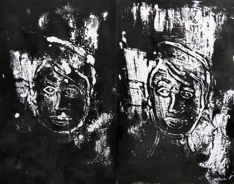 Peinture sur papier 50 x 65 cm (monotype)