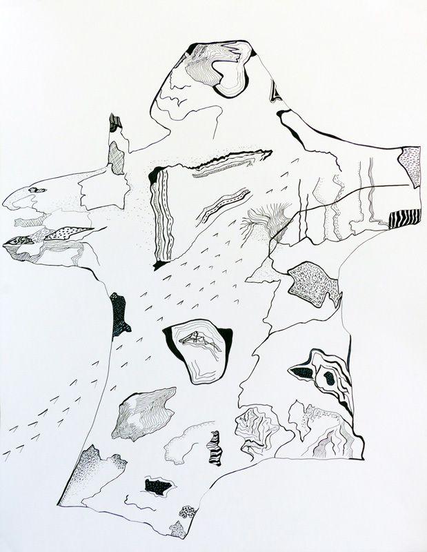 Dessin au feutre sur papier 50 x 65 cm cm d'après la peinture / collage ci-dessous