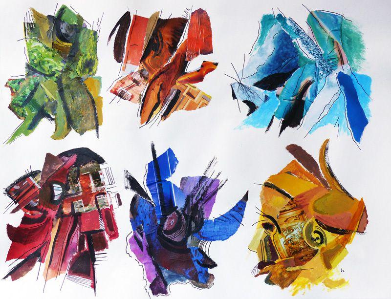 Peinture et collage de Ladin Sabras
