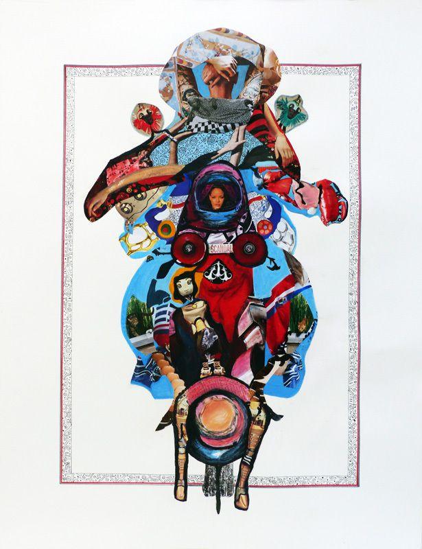 Collage et peinture de Mireille Vincent