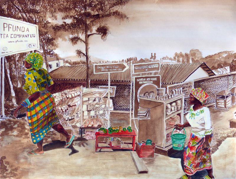 Lucienne Cywier - Sujet n°229 - Marché sur la route de Kigali - lavis acrylique sur papier 50 x 65 cm