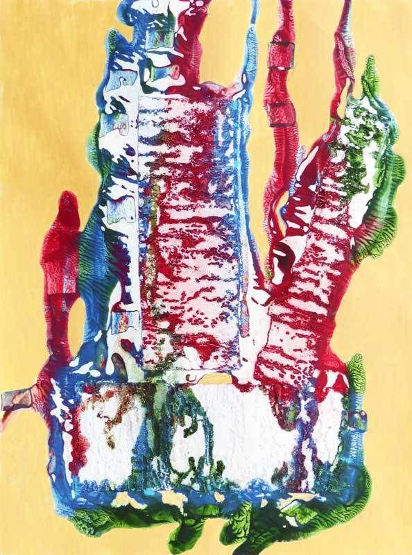 N°76 - Acrylique, collage tissu 2017 - 50 x 65 cm