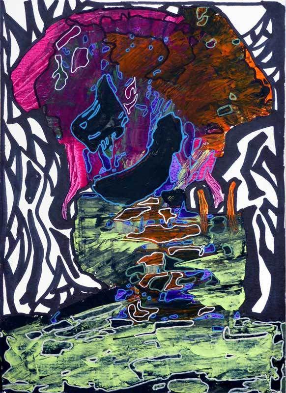 N°215 - Acrylique sur papier 2018 - 30 x 40 cm