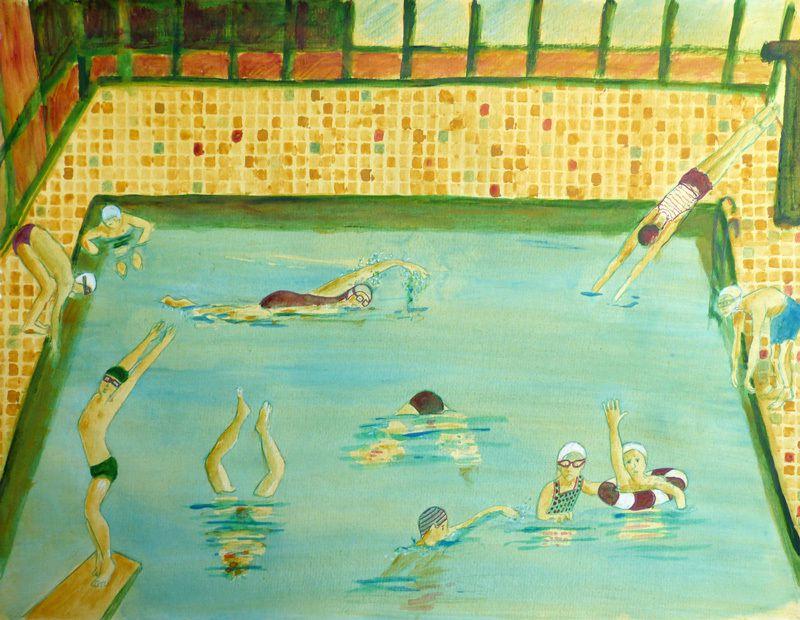 Lucienne Cywier - Sujet n°243 - Jouer et déjouer (I - La piscine) - acrylique sur papier (50 x 65 cm)