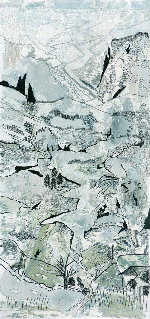 Catherine Maisse - Lavis d'acrylique et feutre sur fonds de transferts - 38 x 61 cm