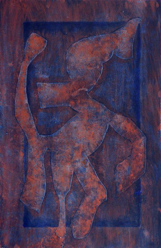 Irène Cazenobe - Découpe de papier épais collée sur papier, couleur et patine - 32,5 x 50 cm