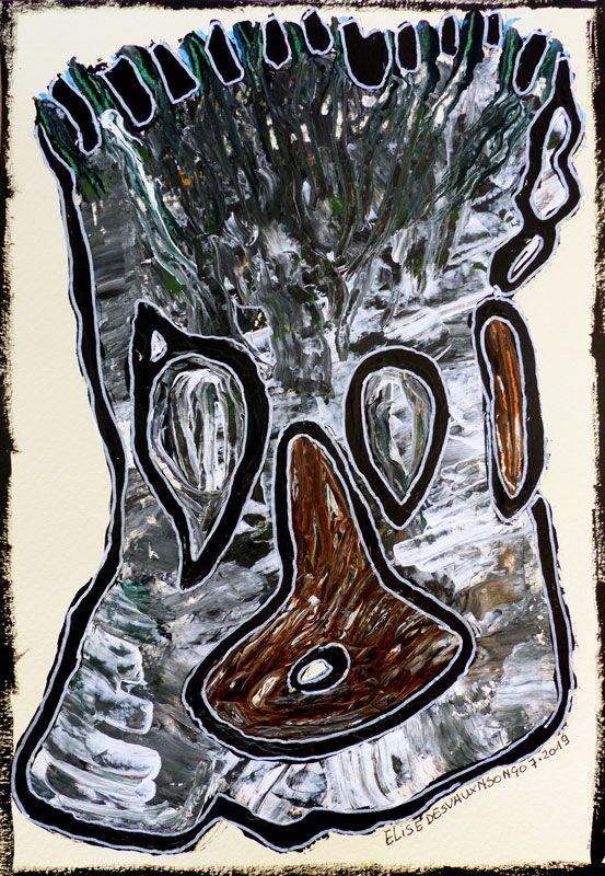 N°382 - Acrylique sur papier- 2019 - 16 x 23 cm