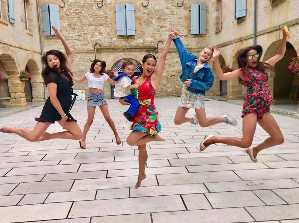 We're jumping for joy in #Navarrenx in the #Bearn region of France!!!  We love it here so much! #sisters #nieces #nephew #familytime #BearnDesGaves #SecondHome