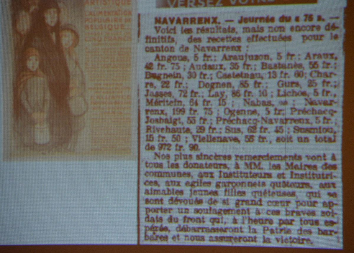 NAVARRENX : L'ADAPTATION DE L'ECOLE A LA GUERRE DE 14-18