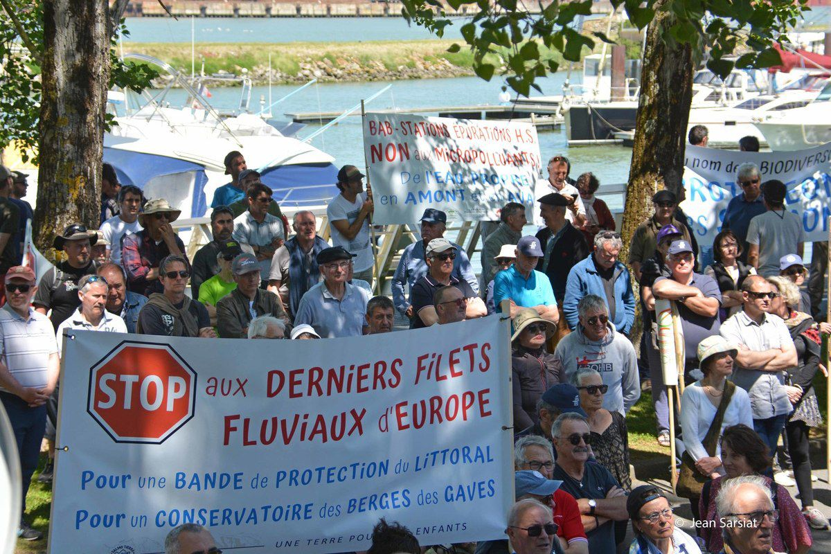 SAUMON : UNE VAGUE DE PROTESTATION A ENVAHI LE PORT DE BAYONNE POUR DIRE STOP A LA PECHE AUX FILETS DERIVANTS