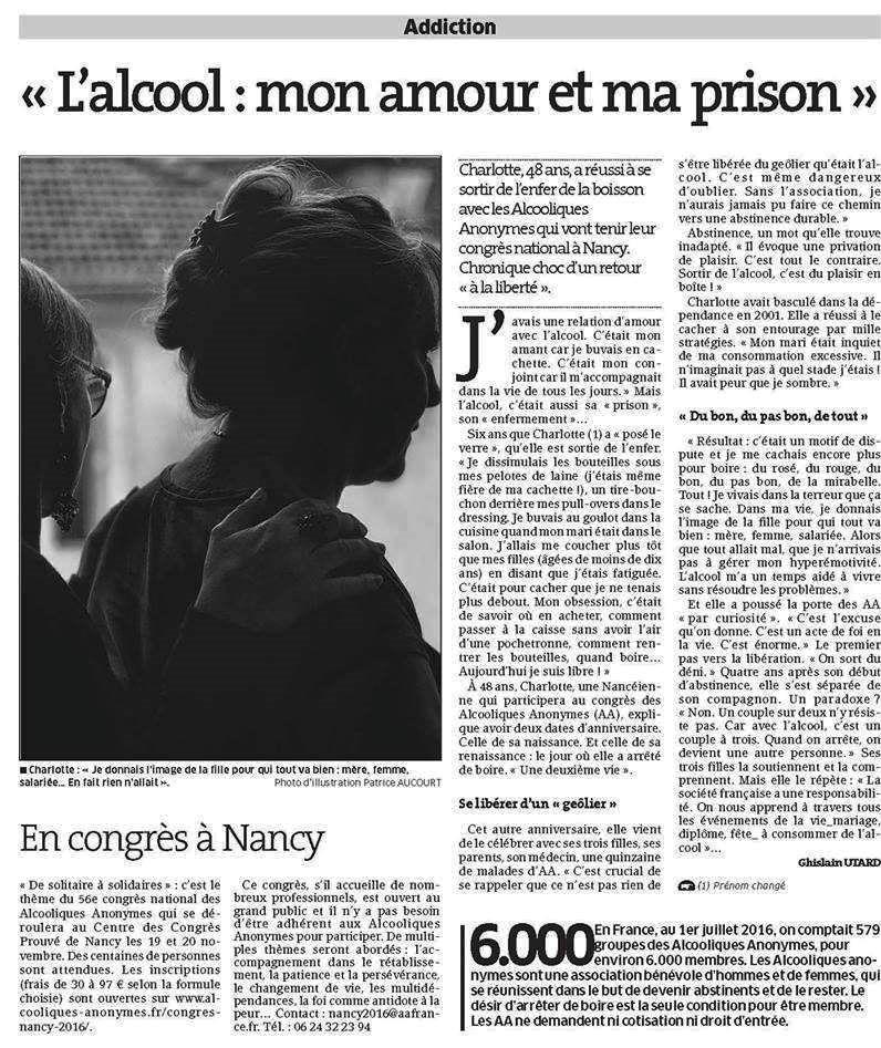 L'ALCOOL : «UN AMOUR ET UNE PRISON », TÉMOIGNE UNE ALCOOLIQUE ANONYME DE NANCY