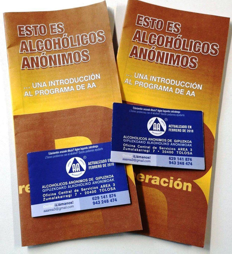 """Carte de visite de """"Alkoholiko Anonimoak de Guipuzkoa"""" (Pays basque)"""