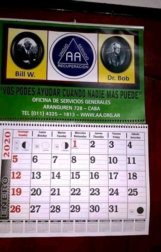 Calendrier 2020 AA Argentine