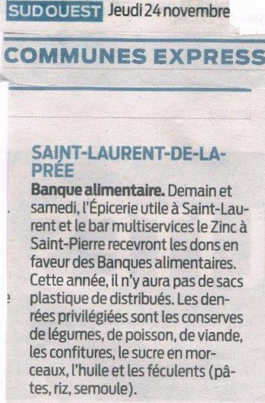 Article Sud-Ouest : Banque alimentaire