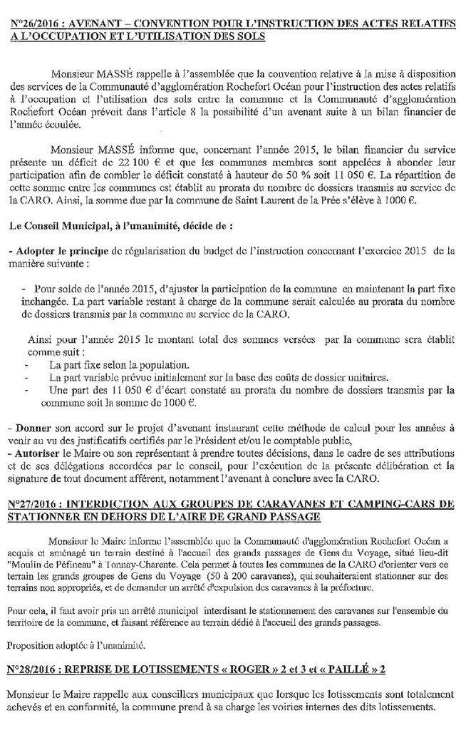 Délibérations du Conseil Municipal du 7 juin 2016