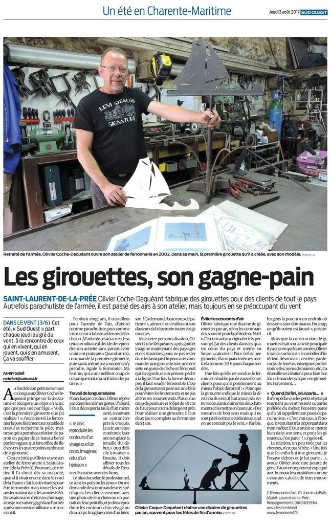 """Article Sud Ouest : """"Les girouettes, son gagne-pain"""""""