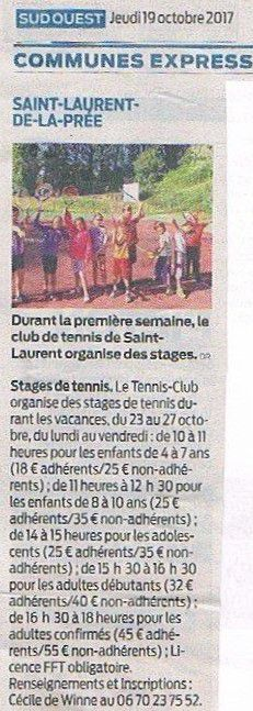 Article Sud Ouest : Stages de tennis