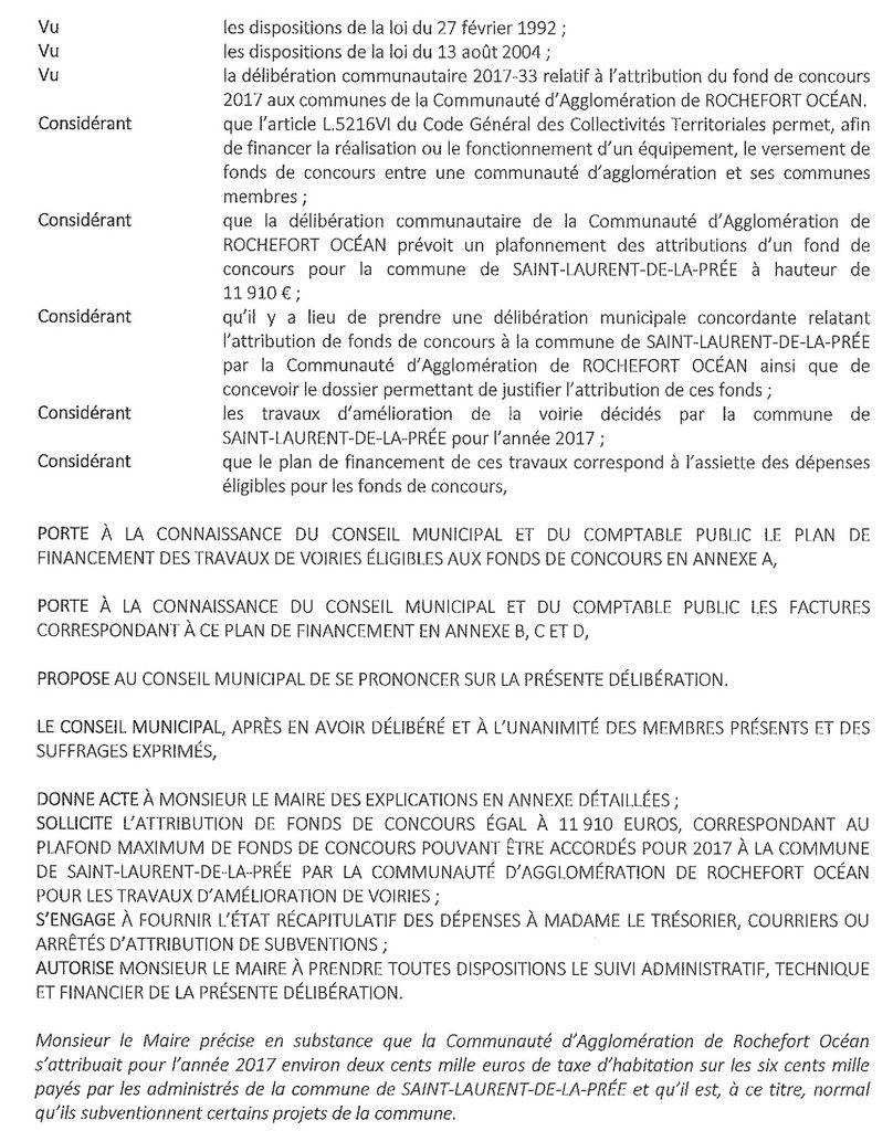 Délibérations du Conseil Municipal du 5 décembre 2017