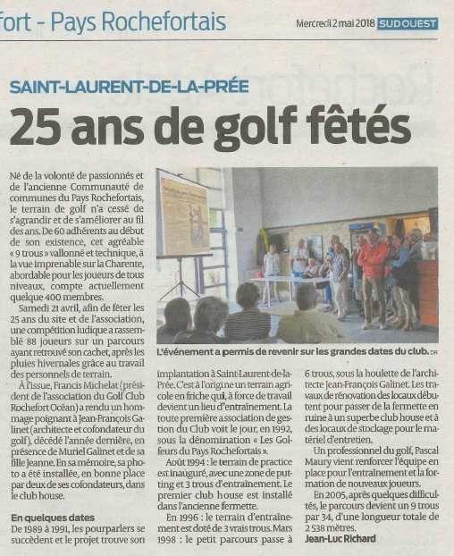 Article Sud-Ouest - 25 ans de golf fêtés