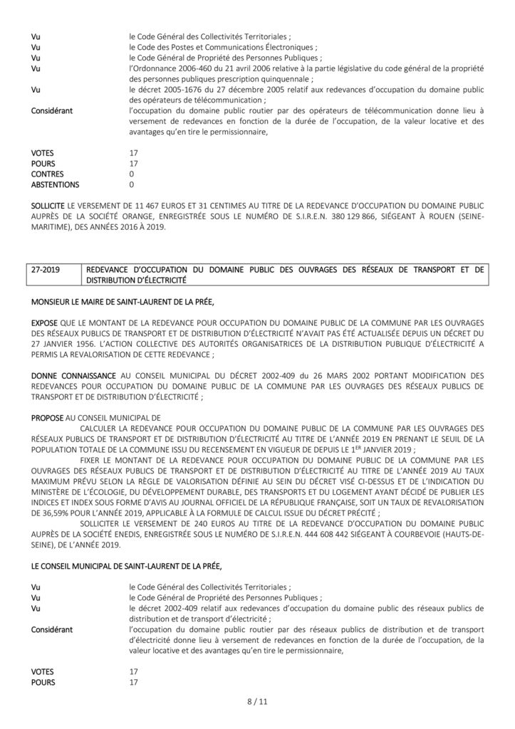 Délibérations du conseil municipal du 22 mai 2019