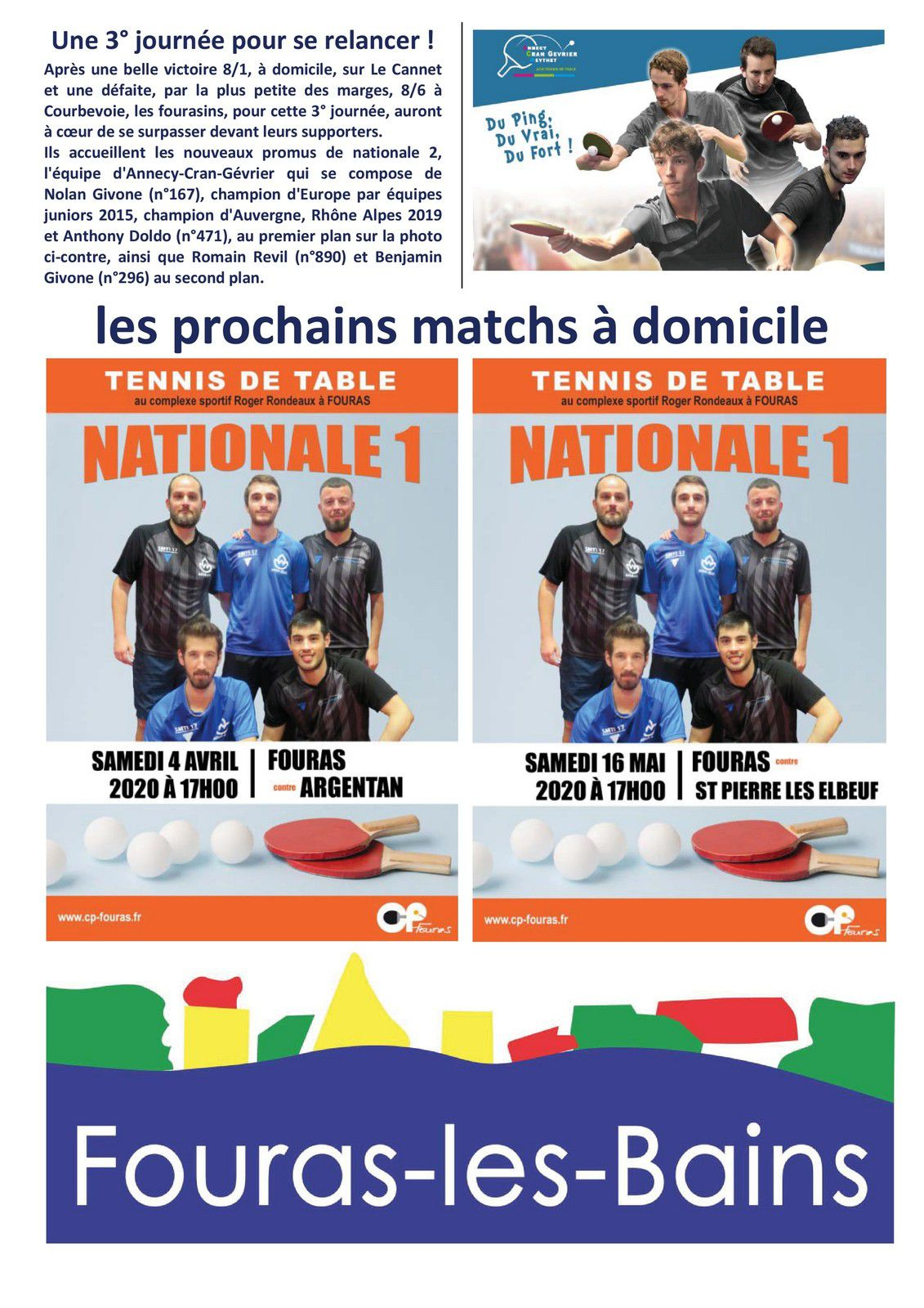 Club pongiste Fourasin : journal des supporters mars 2020