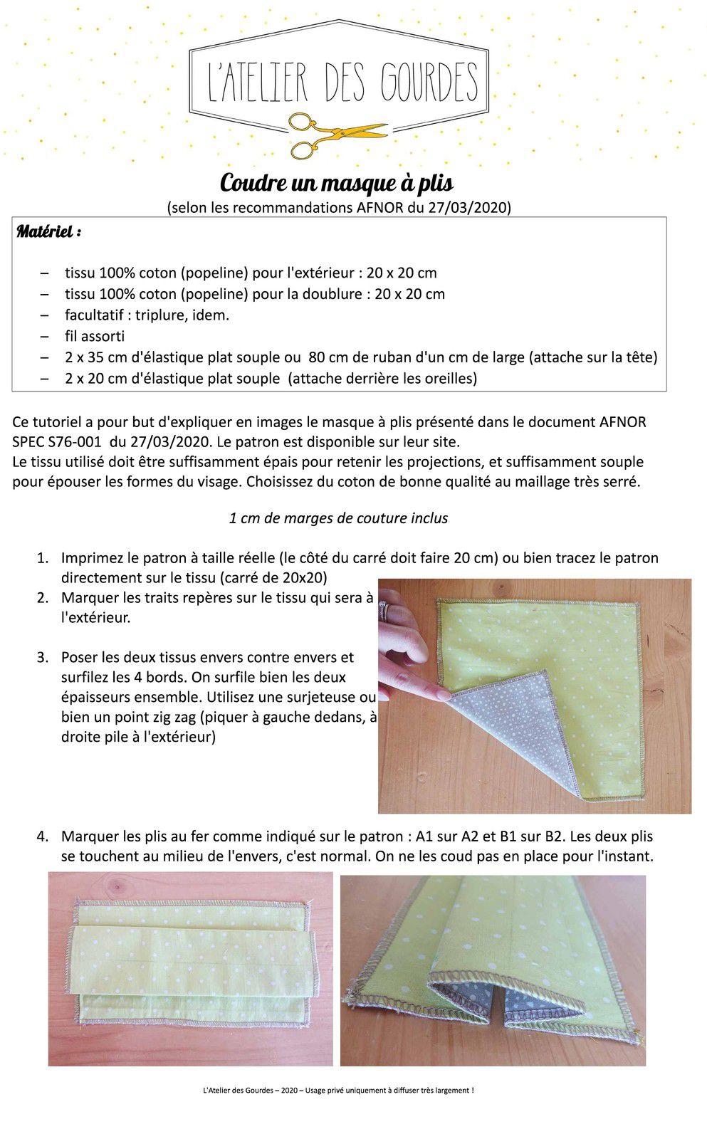 Tuto video gratuit pour coudre pas à pas un masque à plis en tissu selon le guide édité par L'AFNOR