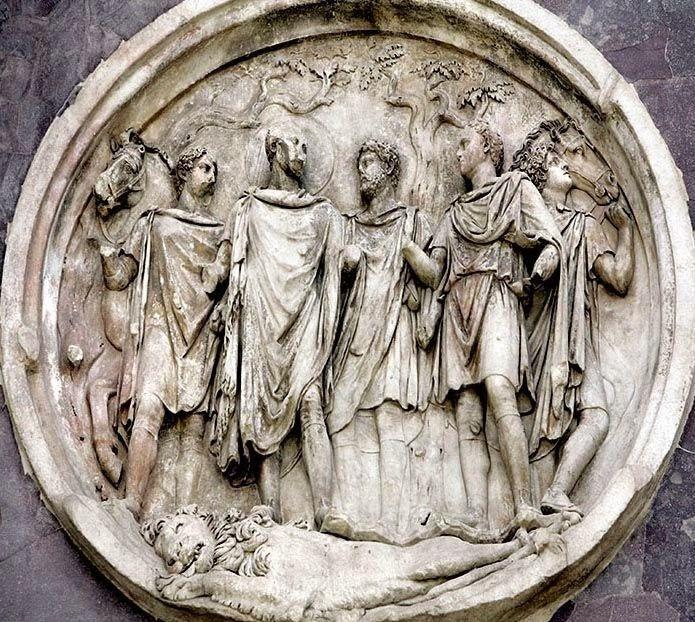 Tondo de l'Arc de Constantin (© http://latogeetleglaive.blogspot.be/2014/04/antinous-le-bel-amant-dhadrien.html)