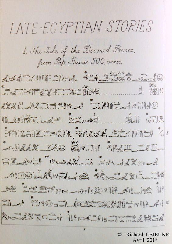 """Premières phrases du conte du """"Prince prédestiné"""", au verso du Papyrus Harris 500, retranscrites en écriture hiéroglyphique par Sir Alan Gardiner."""