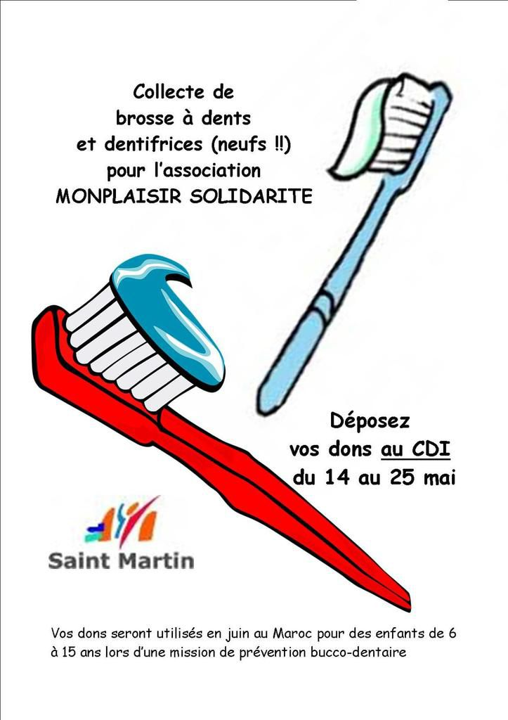 collecte de brosses à dents et dentifrices