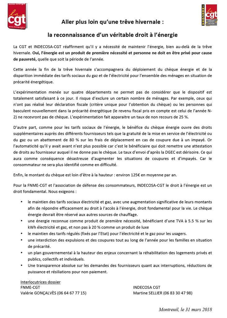 INDECOSA CGT : RECONNAISSANCE D'UN VERITABLE DROIT A L'ENERGIE