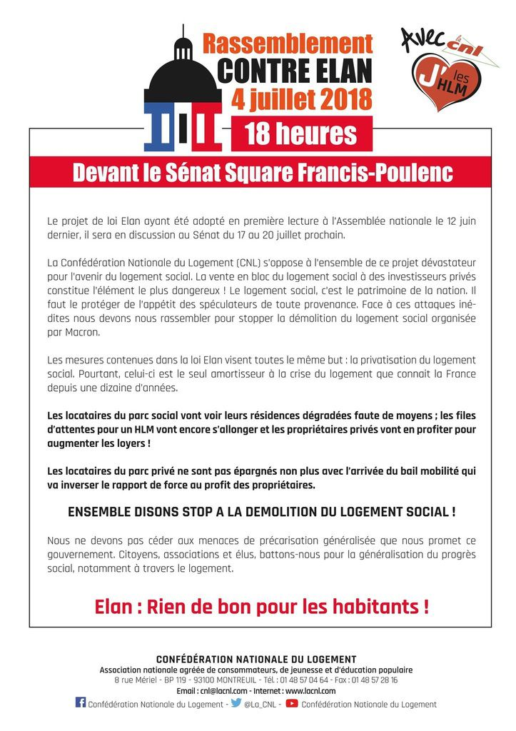 4 Juillet rassemblement contre la loi ELAN