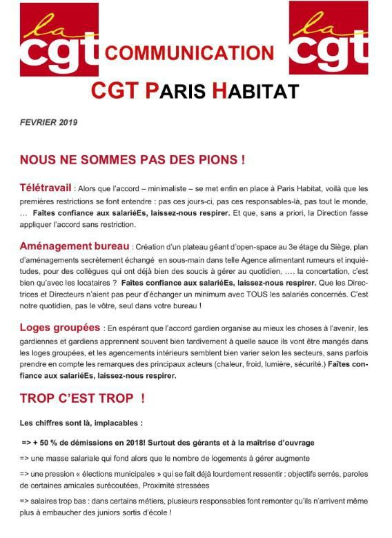 Communication C.G.T. Paris Habitat