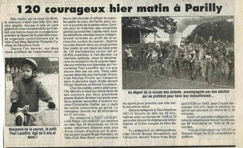 Article du journal Lyon Matin du 7 octobre 1996