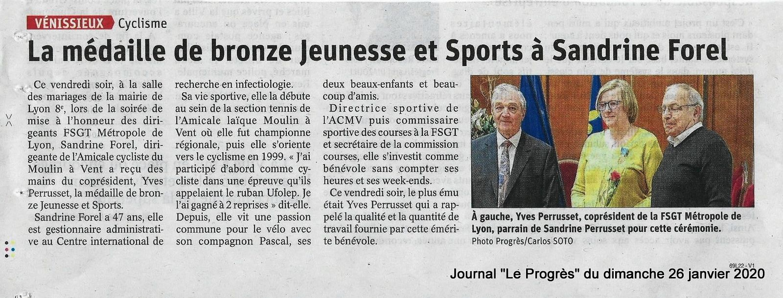 Article du journal Le Progrès du 26-01-2020