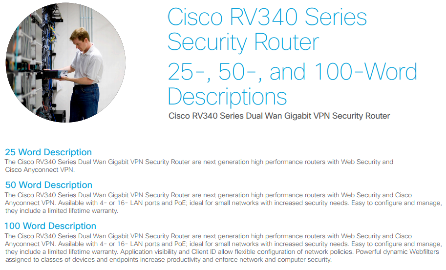RV340W Dual WAN Gigabit VPN Router with Wireless - Cisco