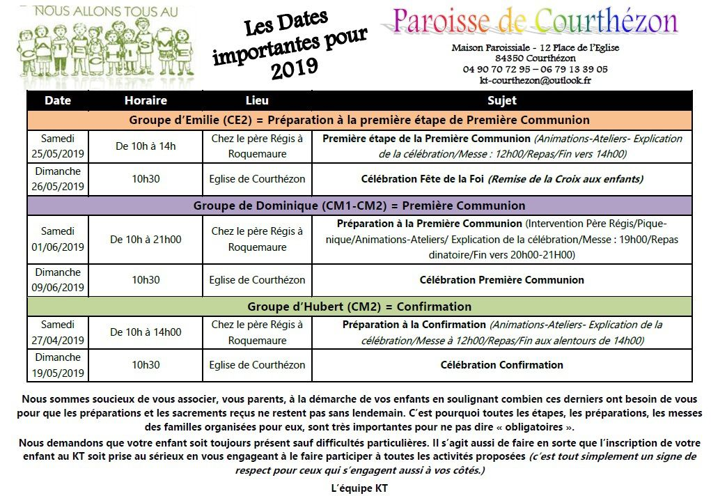 !!! Dates importantes à noter !!!