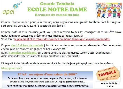 6_APEL_18/19 : Kermesse_Programme et Tombola