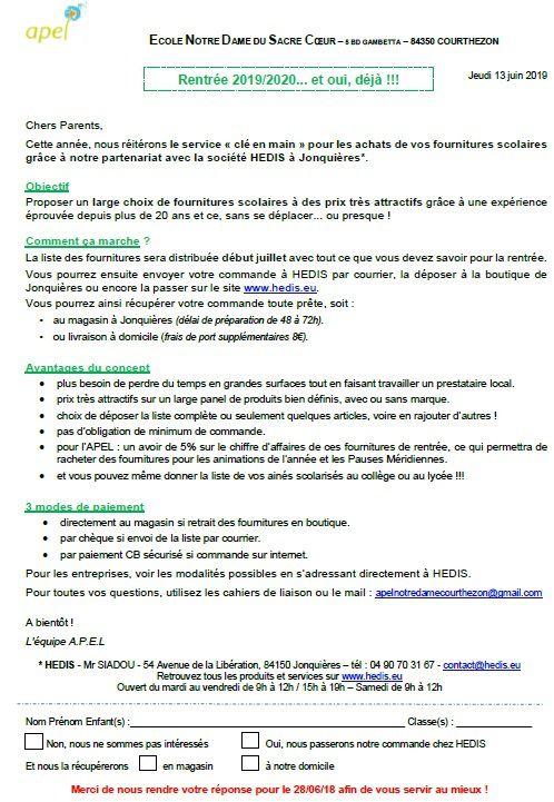 6_APEL_19/20 : Fournitures scolaires / Hedis