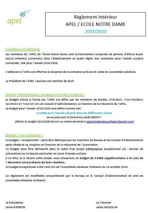 6_APEL_19/20 : Règlement intérieur