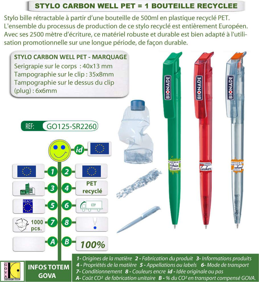 Stylo bouteille recyclée CARBON WELL PET