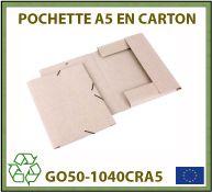 Porte-documents format A5 en carton recyclé avec rabats et fermeture à élastique - GO50-1040CRA5