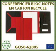 Porte-documents avec bloc-notes en carton et cuir recyclé GO50-62005