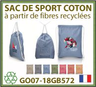 Sacs de sports à cordelettes en coton recycle - GO07-18GB572