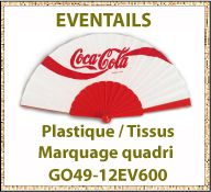 Eventail publicitaire plastique tissu fabrication européenne - GO49-12EV600